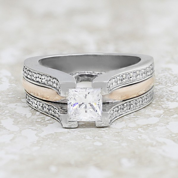 Abigail with 0.99 Princess Cut Center - 14K White Gold/Rose Gold - Ring Size 6.50