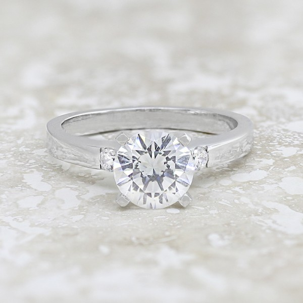 Rhea with 2.04 carat Round Brilliant Center - 14k White Gold - Ring Size 7.5-9.5