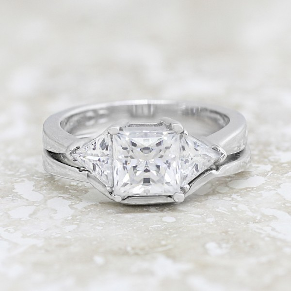 Timeless with 1.59 carat Princess Center and One Matching Band -14k White Gold - Ring Size 7.0