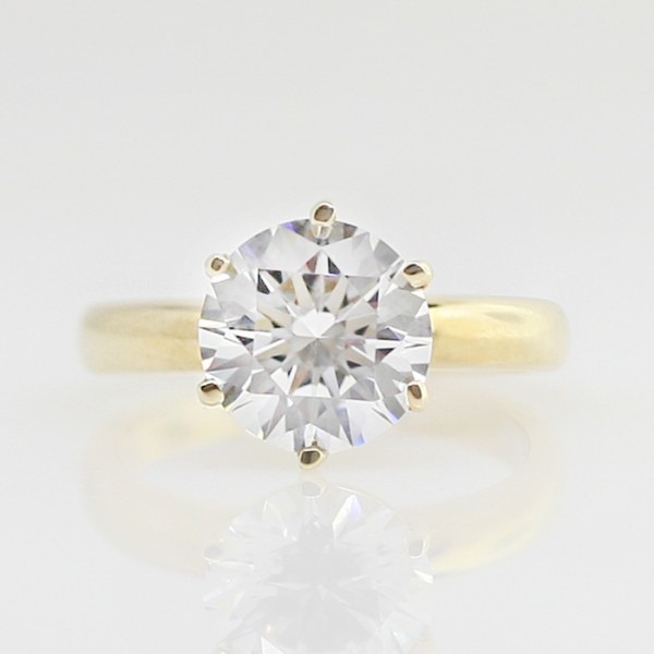 Tiffany 6-Prong High-Set Solitaire with 3.61 carat Round Brilliant Center - 14k Yellow Gold - Ring Size 4.0-8.0