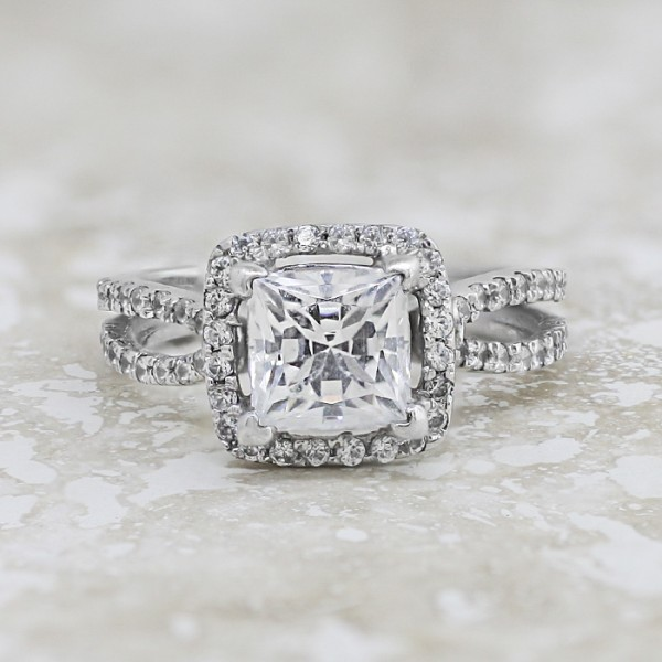 Peggy Lee with 1.75 carat Princess Center - 14k White Gold - Ring Size 6.5