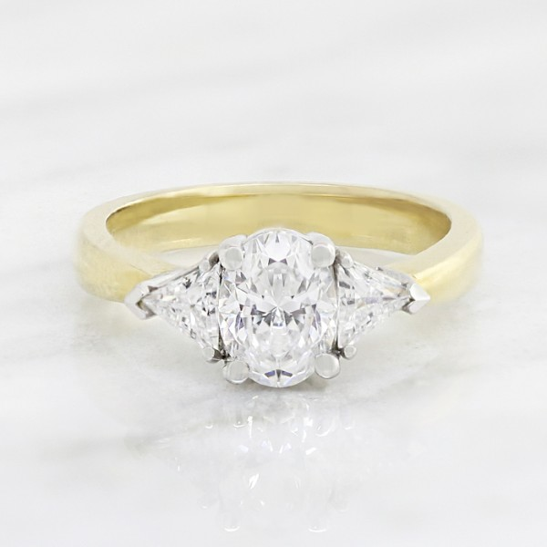 Timeless with 1.21 Oval carat Oval Center - 14k Yellow and White Gold - Ring Size 8.0