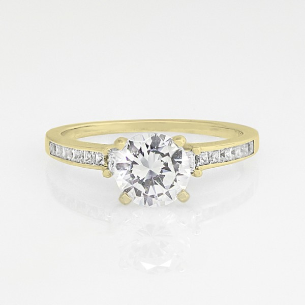 Kit with 1.49 carat Round Brilliant Center - 14k Yellow Gold - Ring Size 4.5-6.5