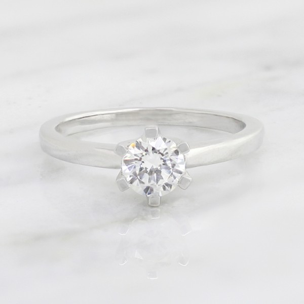 Tiffany-Style 6-Prong Solitaire with 0.56 carat Round Brilliant Center - 10k White Gold - Ring Size 4.0-8.0