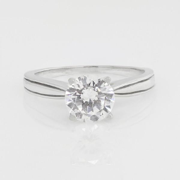Dahlia with 1.49 Round Brilliant Center Stone - 14k White Gold - Ring Size 6.0-8.0
