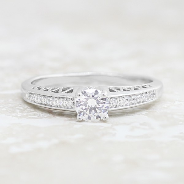 Moulin Rouge with 0.56 Round Cut Center Stone - 14k White Gold - Ring Size 6.5-8.0