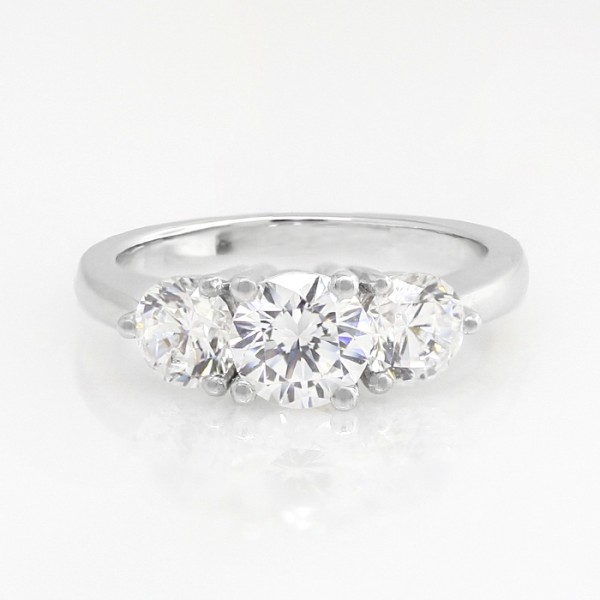 Simply Irresistible with 0.84 Round Brilliant Center - 14k White Gold - Ring Size 5.5-7.0