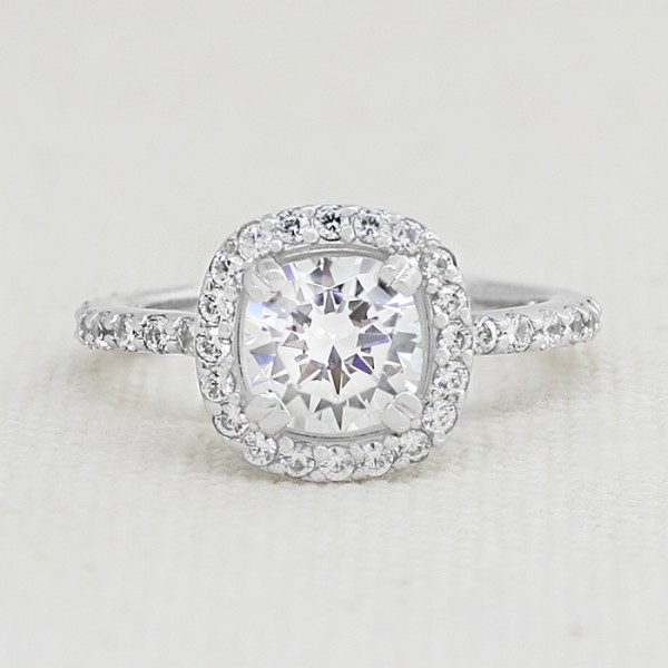 Custom Halo Ring with 1.67 Cushion cut Center and Bishop Bumps - 14k White Gold - Ring Size 7.0