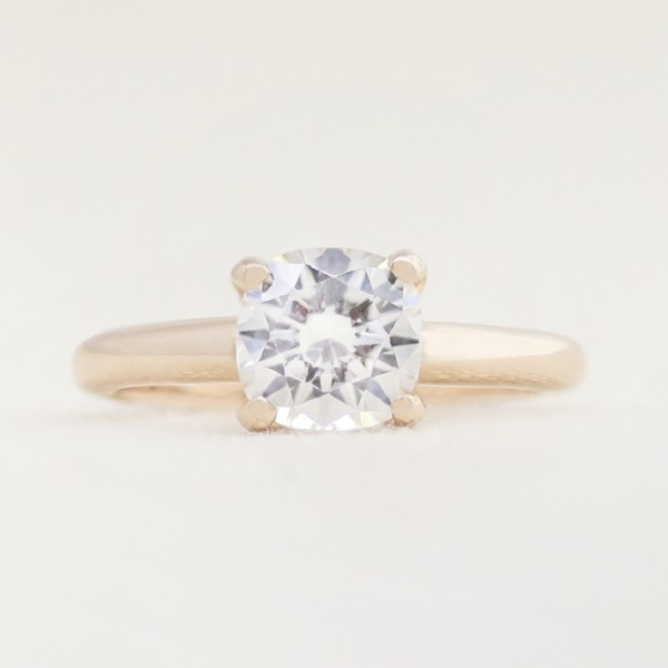 Tiffany-Style Solitaire with 1.67 Carat Cushion Center - 14k Rose Gold - Ring Size 6.0-8.0