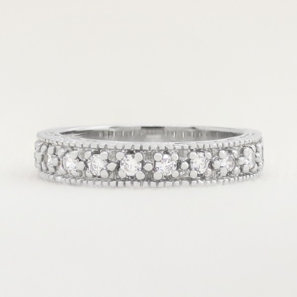 Ornate Semi-Eternity Band with Round Brilliant Accents - Platinum - Ring Size 5.0-6.0