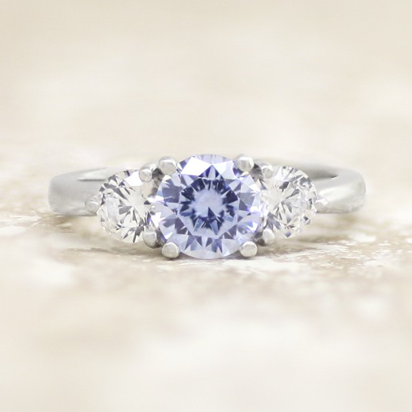 Simply Irresistible with 1.03 Carat Round Brilliant Center - 14k White Gold - Ring Size 5.5-7.5