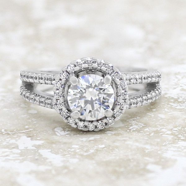 Discontinued Sunset Boulevard with 1.49 carat Round Brilliant Center - 14k White Gold - Ring Size 7.25-8.25