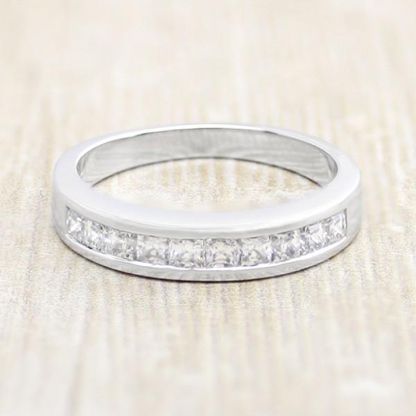 Channel-Set Princess Cut Band - 14k White Gold - Ring Size 7.0