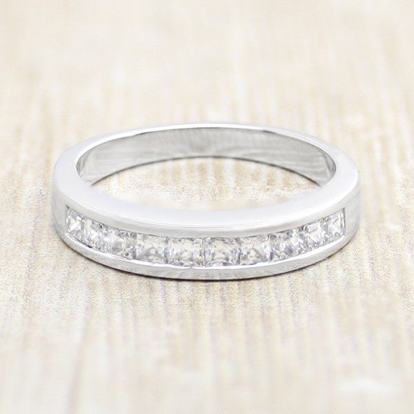 Channel-Set Band with Princess Nexus Diamonds - 14k White Gold - Ring Size 4.75