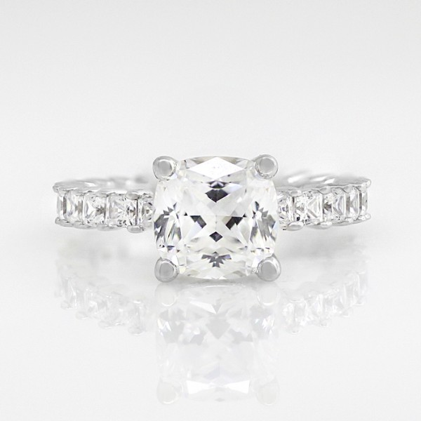 Classic Accented Ring with 2.04 carat Cushion Center - 14k White Gold - Ring Size 6.0