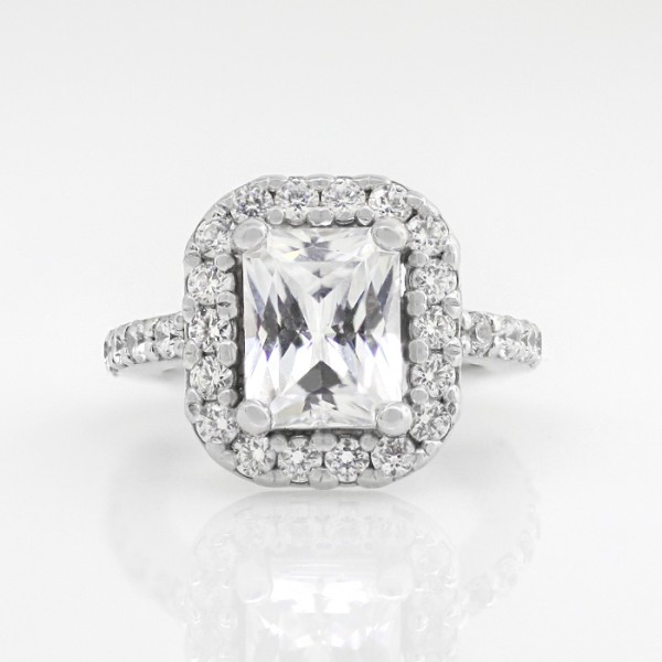 Halo with 2.62 carat Radiant Center - 14k White Gold - Ring Size 4.0