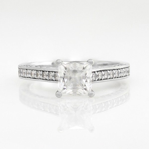 Channel-Set Ring with 1.96 carat Princess Center – 14k White Gold – Ring Size 11
