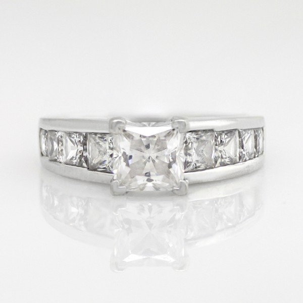 Escada with 1.59 carat Princess Center - 14k White Gold - Ring Size 7.5