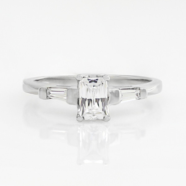 Endless Days with 1.14 carat Radiant Center - 14k White Gold - Ring Size 6.25-8.25