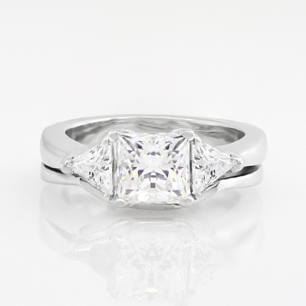 Bewitching Lover with 1.24 carat Princess Center with One Matching Soldered Band - 14k White Gold - Ring Size 5.0