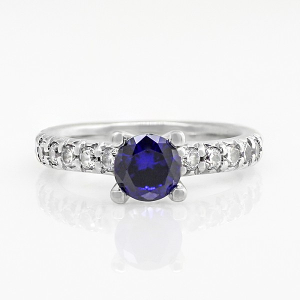 Gwyneth with 1.15 carat Sapphire Center - 14k White Gold - Ring Size 7.5-8.5
