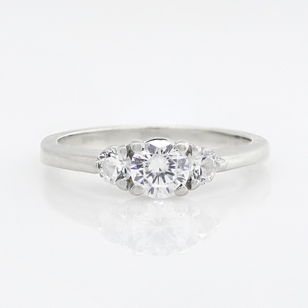 Custom Simply Irresistible with 0.46 carat Round Brilliant Center - 14k White Gold - Ring Size 6.5-9.0