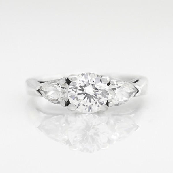 Call Me Sweet Heart with 1.03 carat Round Brilliant Center - Lorian Platinum - Ring Size 5.5-8.0