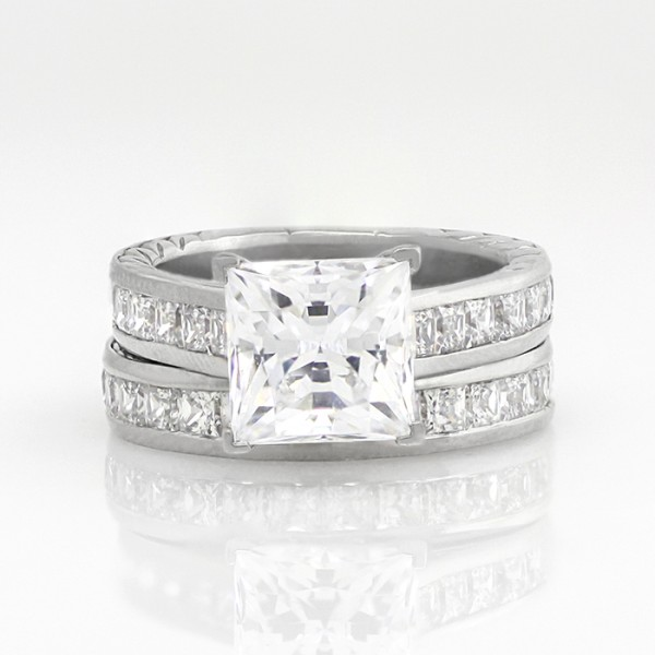 Custom Fanfare with 3.01 carat Princess Center and One Matching Band - Palladium - 6.0-7.0