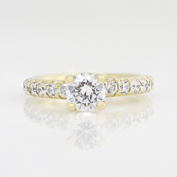 Gwyneth with 1.03 carat Round Brilliant Center - 14k Yellow Gold - Ring Size 5.25-8.25