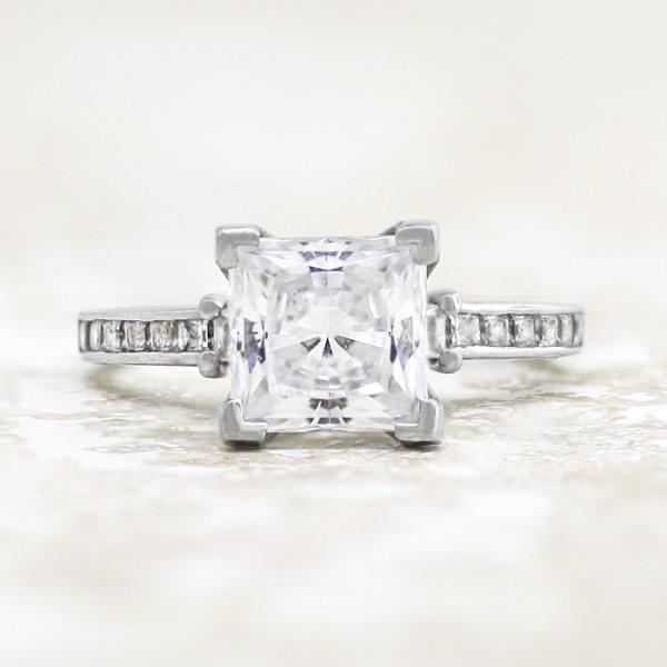 Kit with 0.56 carat Princess Center - 14k White Gold - Ring Size 8.0-10.0