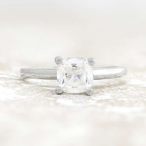 Tiffany-Style Solitaire with 1.28 carat Cushion Center - 14k White Gold - Ring Size 5.75-11.75