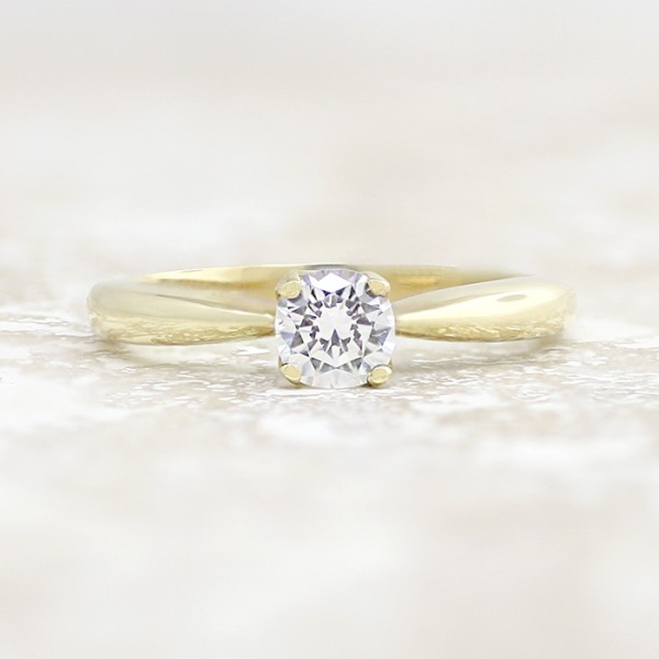 Tiffany-Style Solitaire with 0.56 carat Round Brilliant Center - 14k Yellow Gold - Ring Size 6.0-12.0
