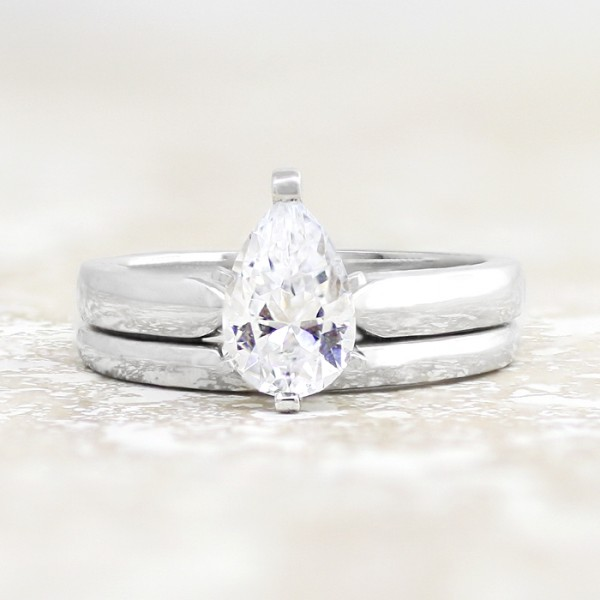 Tiffany-Style 6-Prong Solitaire with 1.33 carat Pear Center and One Matching Band - 14k White Gold - Ring Size 4.0-10.0