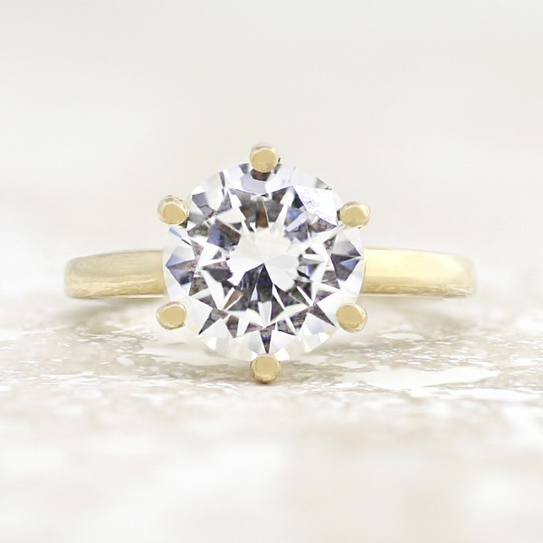 Tiffany-Style 6-Prong Solitaire with 3.05 carat Round Brilliant Center - 14k Yellow Gold - Ring Size 4.0-9.25