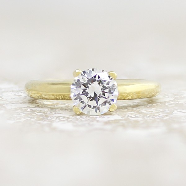 Tiffany-Style Solitaire with 1.49 carat Round Brilliant Center - 14k Yellow Gold - Ring Size 4.0-9.75