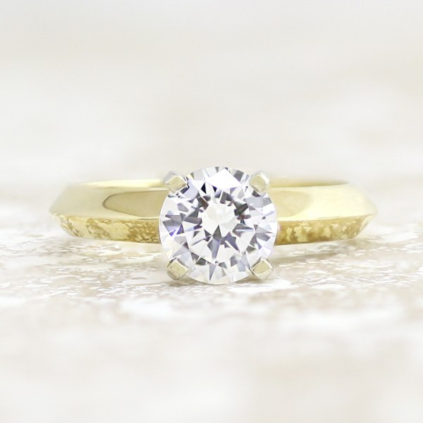 Tiffany-Style Knife-Edge Solitaire with 1.49 carat Round Brilliant Center - 14k Yellow Gold - Ring Size 4.0-10.0