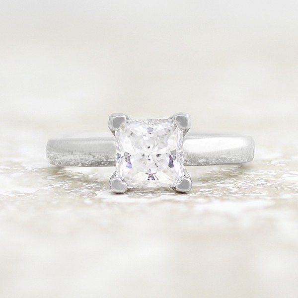 Tiffany-Style Solitaire with 0.99 carat Princess Center - 14k White Gold - Ring Size 7.0-13.0