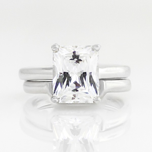 Tiffany-Style Solitaire with 3.49 carat Radiant Center and One Matching Band - 14k White Gold - Ring Size 4.0-9.25