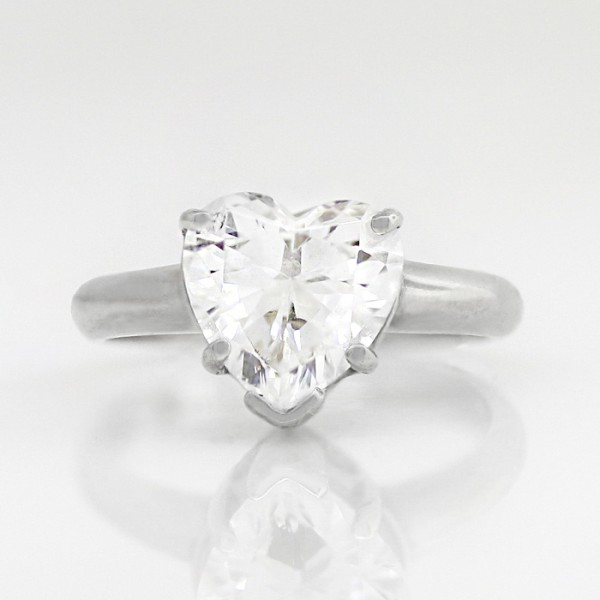 Tiffany-Style Solitaire with 2.41 carat Heart Center - 14k White Gold - Ring Size 4.0-9.0