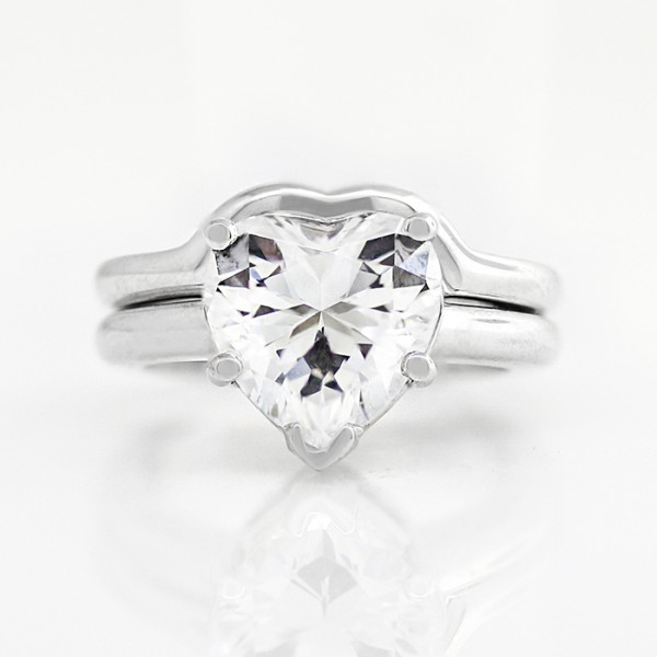 Tiffany-Style Solitaire with 3.16 carat Heart Center and One Matching Band - 14k White Gold - Ring Size 4.0-8.5