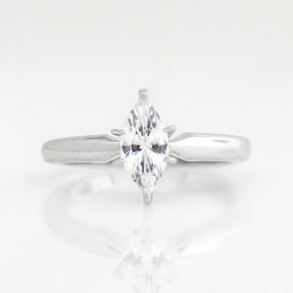 Tiffany-Style Solitaire with 0.71 carat Marquise Center - 14k White Gold - Ring Size 4.0-8.75