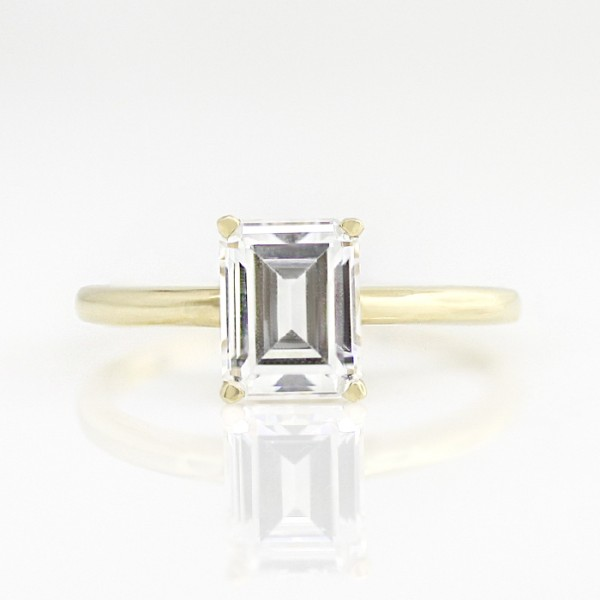Tiffany-Style Solitaire with 2.17 carat Emerald Center - 14k Yellow Gold - Ring Size 6.0-13.0