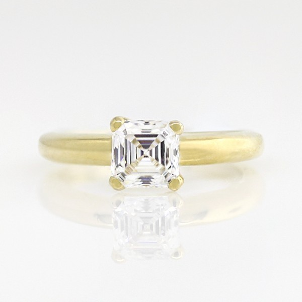 Tiffany-Style Solitaire with 0.99 carat Asscher Center - 14k Yellow Gold - Ring Size 4.0-7.75