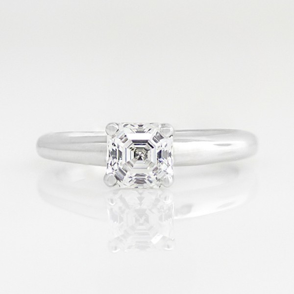 Tiffany-Style Solitaire with 1.24 carat Asscher Center - 14k White Gold - Ring Size 4.0-10.0