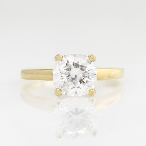 Tiffany-Style Solitaire with 2.04 carat Cushion Center - 14k Yellow Gold - Ring Size 4.0-9.25
