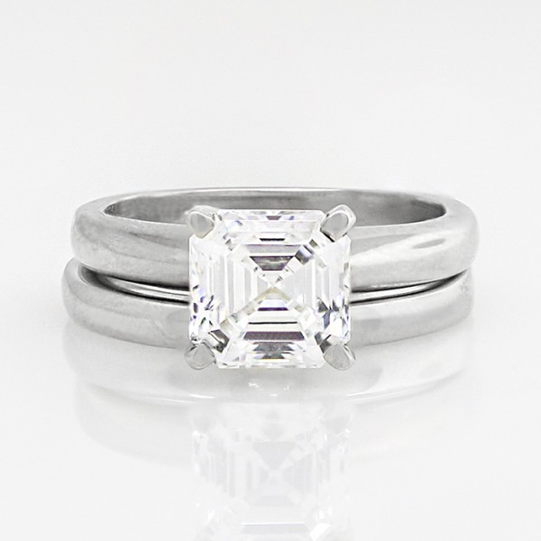 Tiffany-Style Solitaire with 1.96 carat Asscher Center and One Matching Band - Platinum - Ring Size 4.0-8.0