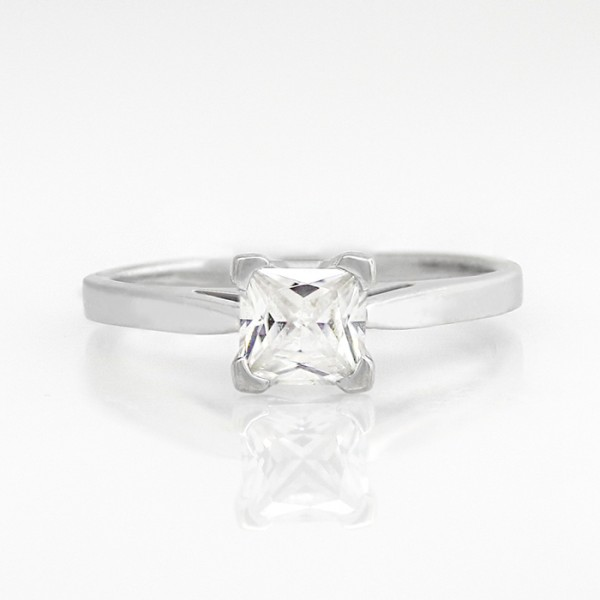 First Love with 0.99 carat Princess Center - 14k White Gold - Ring Size 5.75-9.75