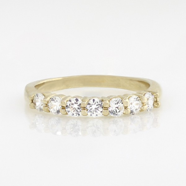 Seven-Stone Round Brilliant Band - 14k Yellow Gold - Ring Size 6.5
