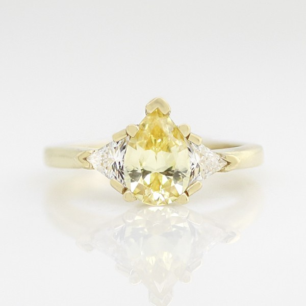Semi-Custom Timeless with 1.33 carat Canary Pear Center - 14k Yellow Gold - Ring Size 6.5-7.5