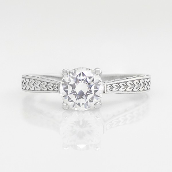 Quinn with 1.75 carat Round Brilliant Center - 14k White Gold - Ring Size 8.0-12.0